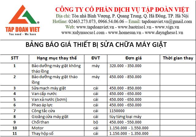 Bảng báo giá dịch vụ sửa máy giặt tại Tập Đoàn Việt